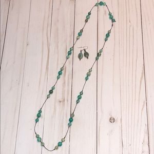 Turquoise beaded necklace & earrings